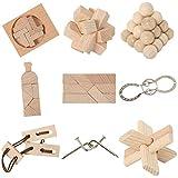 Bartl 111021 9 Knobelspiele aus Holz und Metall Sortiert im Spar-Knobel-Pack für Erwachsene und...