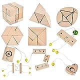 B&Julian  3D IQ Holzpuzzle10 Mini Puzzle Set aus Holz Knobelspiele Geduldspiel Rätselspiel...